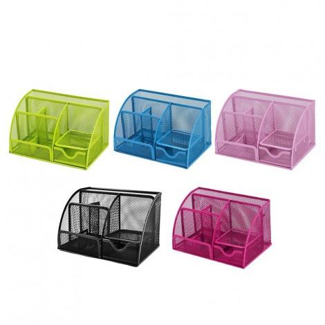 Multifunctional storage box with pen holder mesh office desk